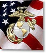 U. S. Marine Corps - U S M C Eagle Globe And Anchor Over American Flag. Metal Print