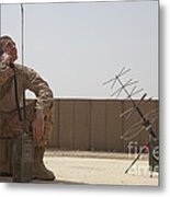 U.s. Marine Looks Up To The Sky While Metal Print