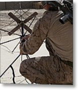 U.s. Marine Repositions A Satellite Metal Print