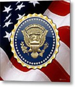 Presidential Service Badge - P S B Over American Flag Metal Print