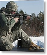 U.s. Soldier Fires His M4a3 Carbine Metal Print