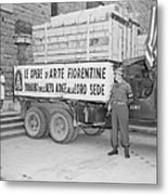 U.s. Soldier Guards A Truck Holding Metal Print