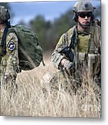 U.s. Soldiers Await The Arrival Metal Print