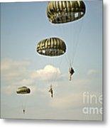 U.s. Soldiers Descend Through The Sky Metal Print