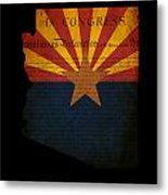 Usa American Arizona State Map Outline With Grunge Effect Flag A Metal Print