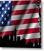 Usa American Flag With Statue Of Liberty Skyline Silhouette Metal Print