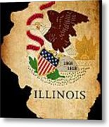 Usa American Illinois State Map Outline With Grunge Effect Flag Metal Print