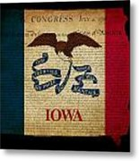 Usa American Iowa State Map Outline With Grunge Effect Flag And  Metal Print