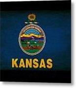 Usa American Kansas State Map Outline With Grunge Effect Flag Metal Print