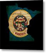 Usa American Minnesota State Map Outline With Grunge Effect Flag Metal Print