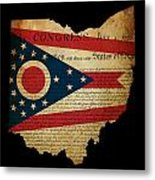 Usa American Ohio State Map Outline With Grunge Effect Flag Inse Metal Print