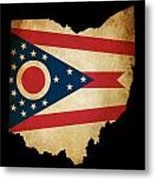 Usa American Ohio State Map Outline With Grunge Effect Flag Metal Print