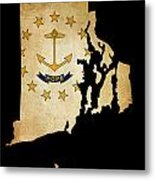 Usa American Rhode Island State Map Outline With Grunge Effect F Metal Print