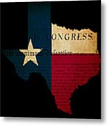 Usa American Texas State Map Outline With Grunge Effect Flag Ins Metal Print by Matthew Gibson