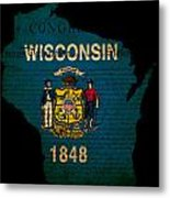 Usa American Wisconsin State Map Outline With Grunge Effect Flag Metal Print