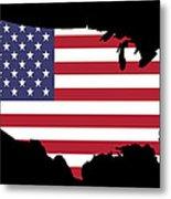 Usa And Flag Metal Print