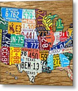 Usa License Plate Map Car Number Tag Art On Light Brown Stained Board Metal Print by Design Turnpike