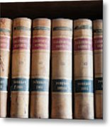 Usa, Nevada Old Law Books In Library Metal Print