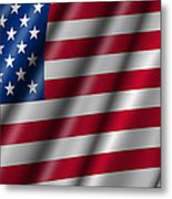 Usa Stars And Stripes Flying American Flag Metal Print by David Gn