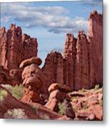 Usa, Utah View Of Fisher Towers Credit Metal Print