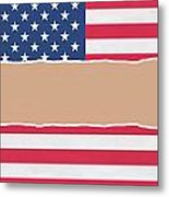 Usa Wrapping Paper Torn Through The Centre Metal Print