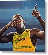 Usain Bolt Painting Metal Print