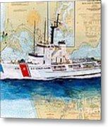 Uscg Alert Coast Guard Chart Map Art Peek Metal Print