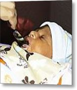 Using A Spoon To Feed A 4 Day Old Indian Baby Boy With Milk Metal Print