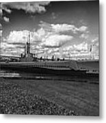 Uss Bowfin-black And White Metal Print