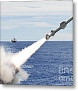 Uss Cowpens Launches A Harpoon Missile Metal Print