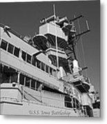 Uss Iowa Battleship Portside Bridge 01 Bw Metal Print