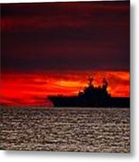 Uss Makin Island At Sunset Metal Print