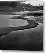 Utah Lake Shoreline In Monochrome Metal Print