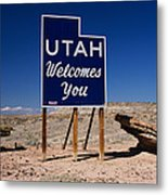 Utah Welcomes You State Sign Metal Print