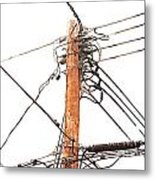 Utility Pole Hung With Electricity Power Cables Metal Print