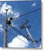 Utility Poles And Clouds 2 Metal Print