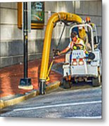 Vacuuming The Sidewalk Metal Print