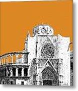 Valencia Skyline Valencia Cathedral - Dark Orange Metal Print