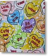 Valentine Candy Hearts Metal Print