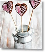 Valentine Cookie Pops Metal Print