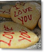 Valentine Wishes And Cookies Metal Print