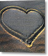 Valentine's Day - Sand Heart Metal Print