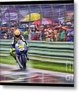 Valentino Rossi Fans Line The Fence Metal Print