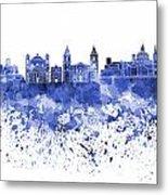 Valletta Skyline In Blue Watercolor On White Background Metal Print