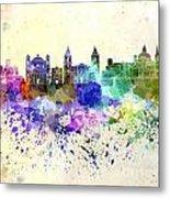 Valletta Skyline In Watercolor Background Metal Print