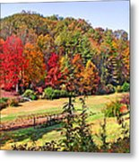 Valley Farm In The Fall Metal Print