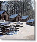 Valley Forge Cabins After A Snow Metal Print