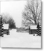 Valley Forge Cabins In Snow Metal Print