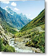 Valley Of River Ganga In Himalyas Mountain Metal Print
