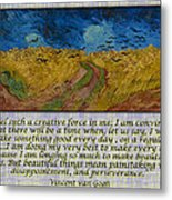 Van Gogh Motivational Quotes - Wheatfield With Crows II Metal Print